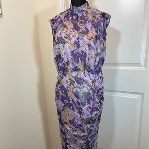 Chico's Ruched Floral Sleeveless Dress